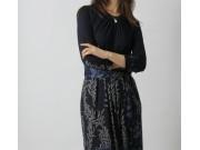 縫い代付き印刷済み型紙 クルーネックベルト付きTワンピ 8Elise~エリーゼ