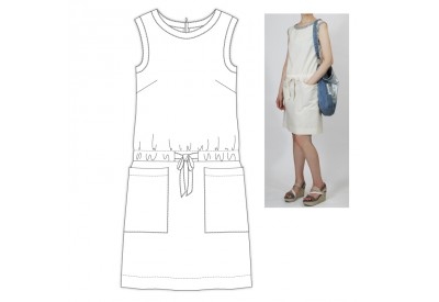 PDF型紙 8Lim 衿、袖ぐり切り替え、ウエストリボンワンピース