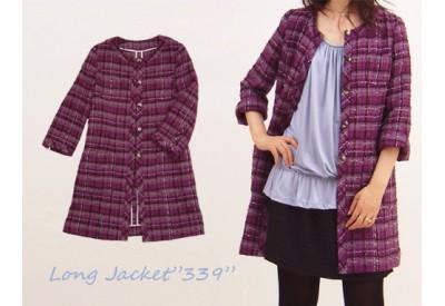 縫い代付き印刷済み型紙 4ポケット衿なしロングジャケット 339
