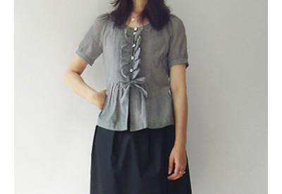 縫い代付き印刷済み型紙 5Luca フリルリボンブラウス