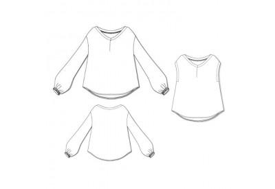 縫い代付き印刷済み型紙  6Lumi 浅VネックパフスリーブBL/フレンチスリーブ