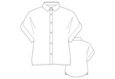 縫い代付き印刷済み型紙   LR50051 ダブルカフのクロップトシャツ