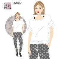 PDFダウンロード型紙  カットソー ドロップショルダールーズTシャツ(yum)