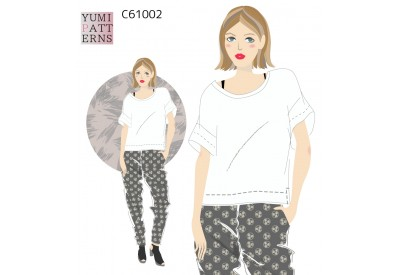 縫い代付き印刷済み型紙  カットソー ドロップショルダールーズTシャツ(yum)