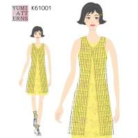 印刷済み実物大編み図  かぎ針編み ロングベストワンボタン(yum)