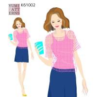 印刷済み実物大編み図  かぎ針編み ドロップショルダープルオーバー ショート丈(yum)