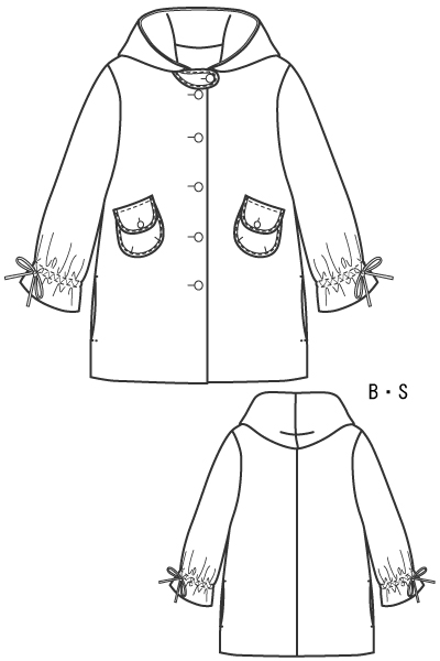 型紙通販 フード付きコート、ハーフ丈