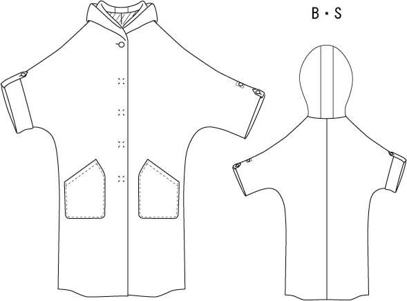 型紙通販 PDF型紙 フーデッドドルマンコート Blanche~ブランシェ