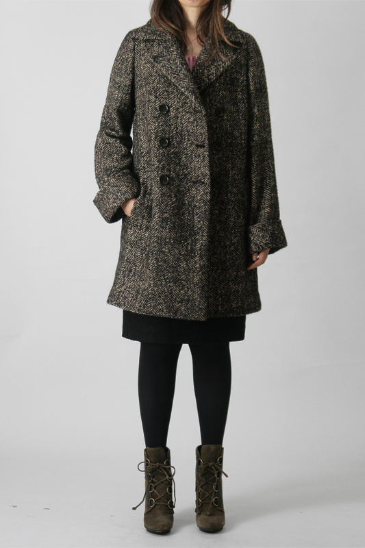 型紙通販 9分袖、ダブルブレストハーフコート 3Elody~エロディー