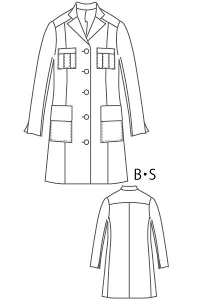 型紙通販、テーラードロングジャケット