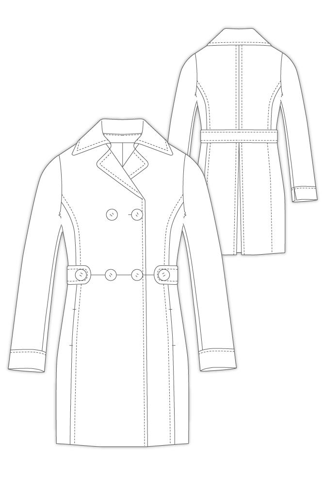 型紙通販、P衿ダブルブレストベルテッドコート 3Martina~マルチナ