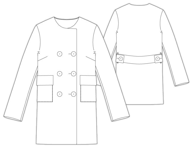 33Rudale ドロップショルダー 衿なし ハーフコート 型紙通販