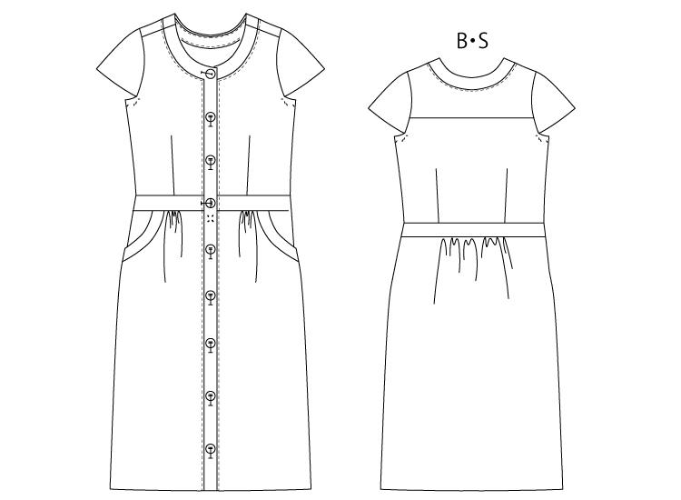 洋裁用型紙通販 PDF型紙  立体裁断  8Adele 衿なし前開きワンピース