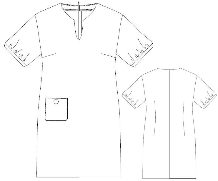 型紙通販 ドロップショルダーシフトドレス 8Alina~アリーナ