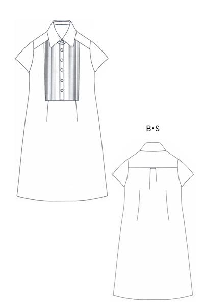 型紙通販 ピンタック半袖シャツワンピース