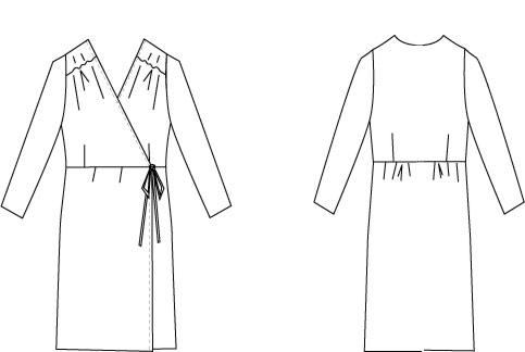 型紙通販 カシュクールジャージーワンピース オプション袖付き