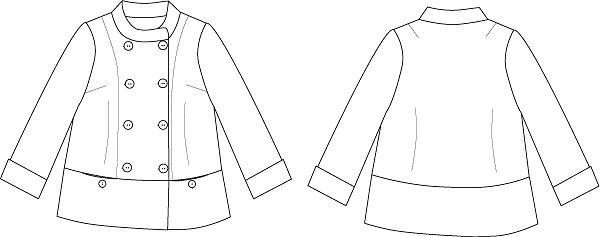 型紙通販、ハイネックダブルブレストジャケット