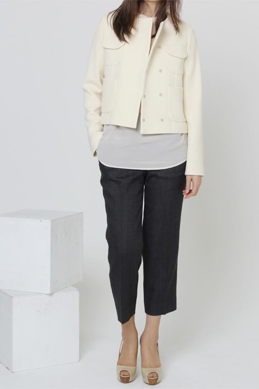 型紙通販 ノーカラーダブルブレストジャケット