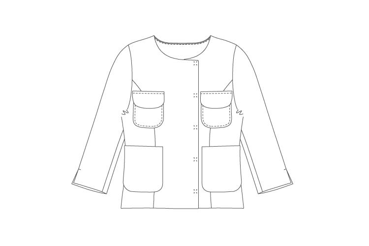 型紙通販 クルーネックノーカラージャケット