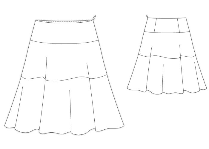 型紙通販 3段ティアードフレアースカート 957Ciel