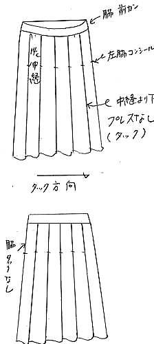 型紙通販 フレアー車飛騨プリーツスカート