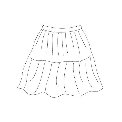型紙通販 タックティアードスカート