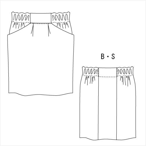 型紙通販 コクーンシルエット、ゴムスカート