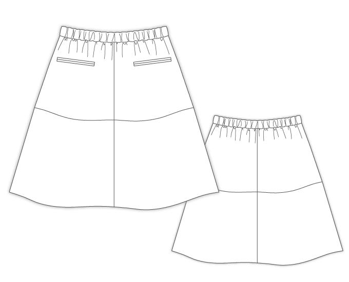 型紙通販 立体裁断 イレギュラーヘムのゴムスカート 9Sloane
