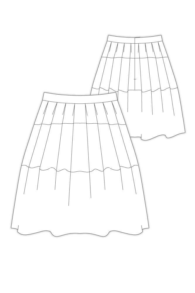 型紙通販 洋裁用型紙通販 PDF型紙  変形タックティアードスカート 9Pluie
