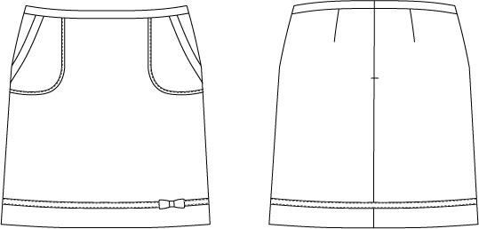 型紙通販 リボン付き台形ミニスカート