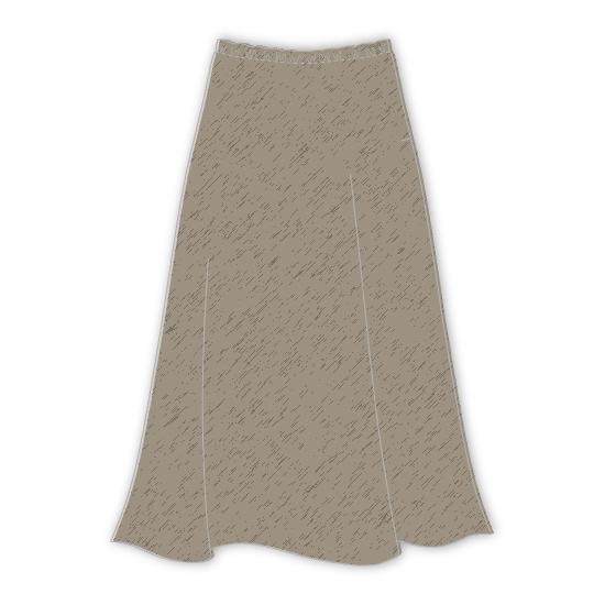 洋裁用型紙通販 型紙通販 LR90052 ロングフレアー ゴムスカート ダウンロード型紙 立体裁断