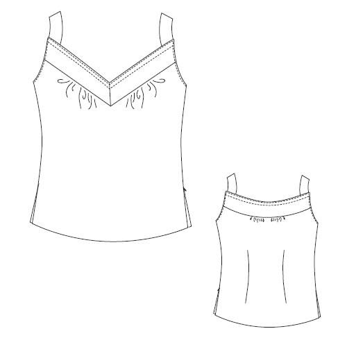 型紙通販、衿ぐりヨークキャミソール