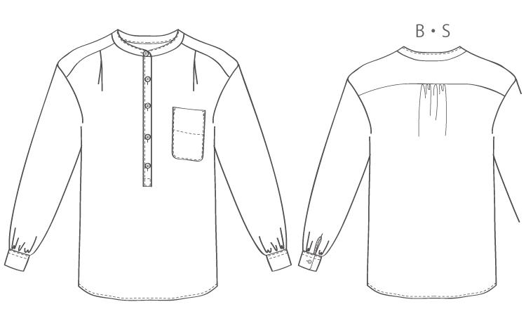 洋裁用型紙通販 PDF型紙  立体裁断  6Cammile ヘンリーネックオーバーシャツ