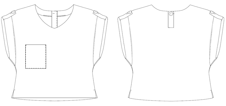 型紙通販  ロールアップ袖のルーズトップス 6Esty~エスティ