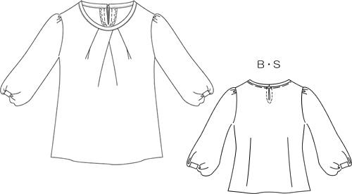 型紙通販  ピンタック、裾切り替えブラウス  6Linalua~リナルア