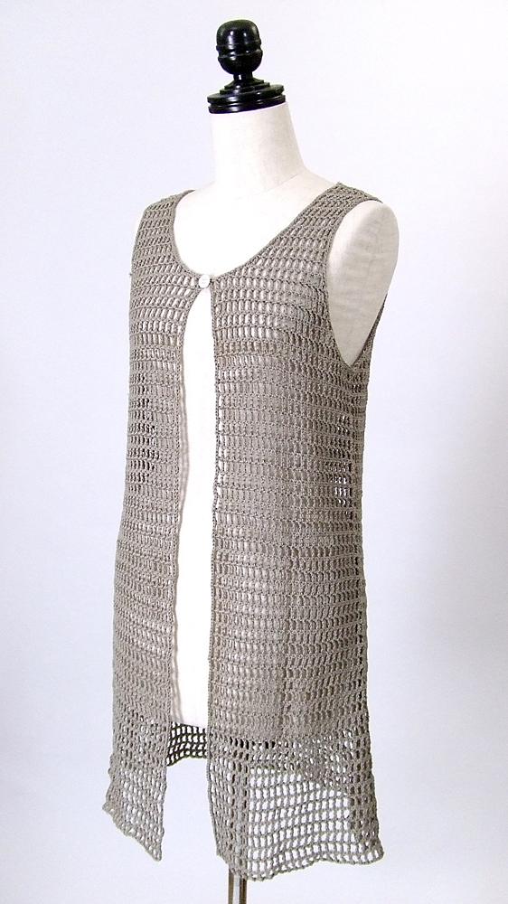 ニットベスト,手編み,側面