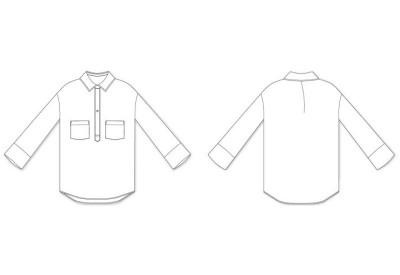 縫い代付き印刷済み型紙  6Clora ドロップショルダー1ボタンスキッパー