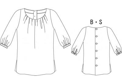 縫い代付き印刷型紙 クルーネックカフスドブラウス 6Jeanne~ジャンヌ