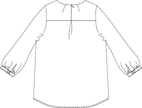 型紙通販、型紙 衿ぐりタック ブラウス 6Elflower